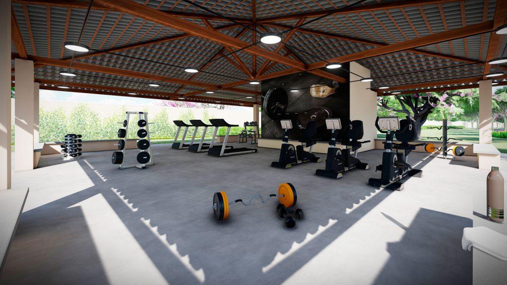 Perspectiva ilustrada do espaço fitness. Os equipamentos da área fitness não fazem parte da entrega final do empreendimento.