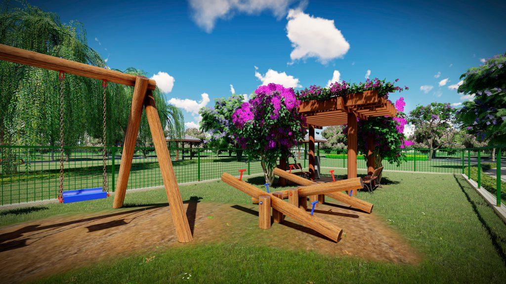 Perspectiva ilustrada do playground. Imagem meramente ilustrativa.